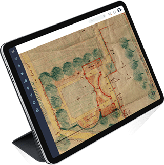 Tablet showing digitised historic garden plans